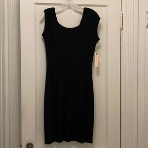 Black comfortable dress with v back